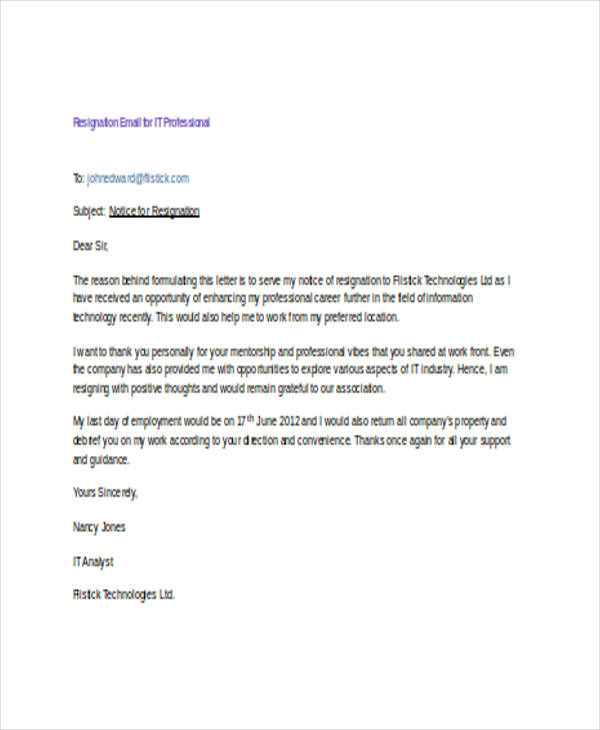 resignation letter format through email 21 resignation email examples doc 13361