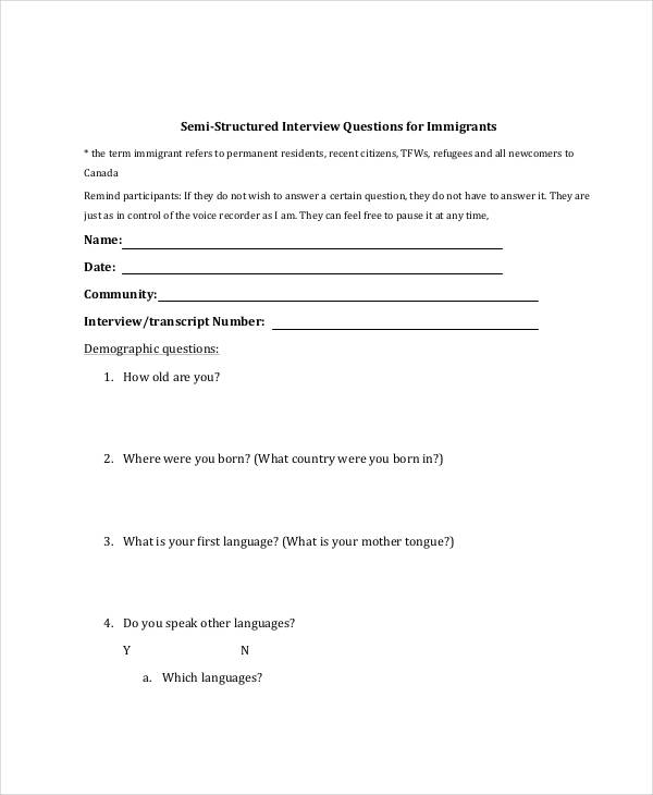immigration interview questionnaire