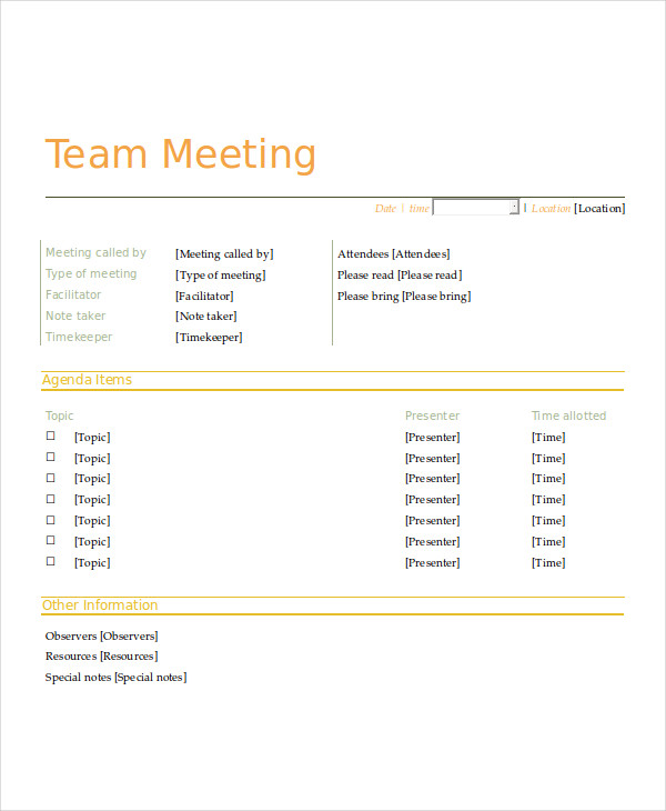 informal staff meeting agenda