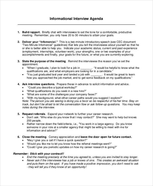 7 Interview Agenda Examples Samples