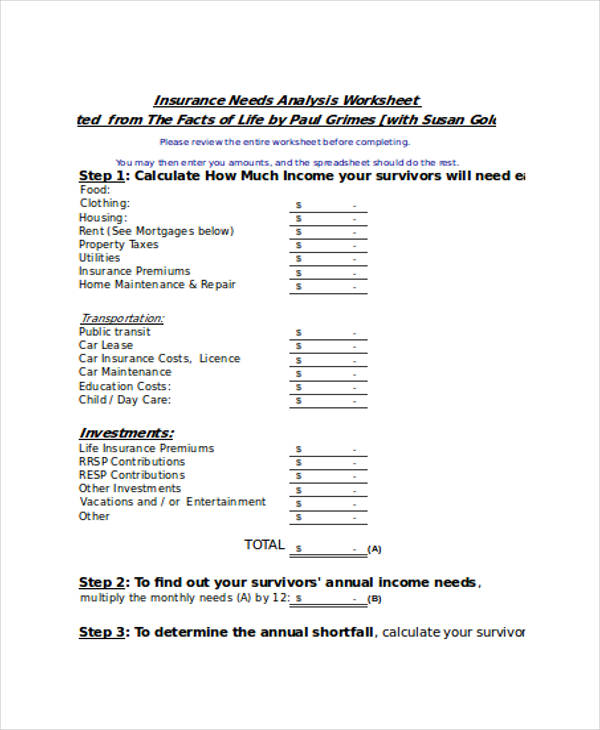 27 Analysis Examples in Excel – Life Insurance Needs Analysis Worksheet