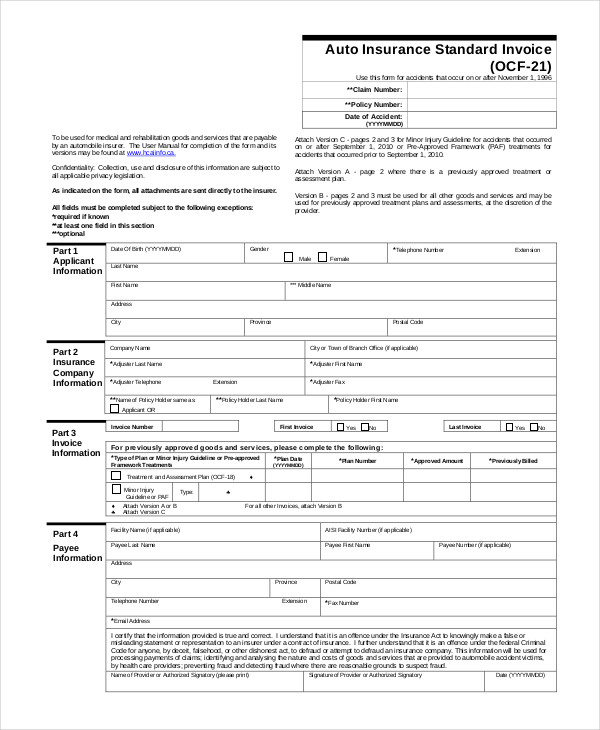 Auto Insurance Standard Invoice. Insurance Sample