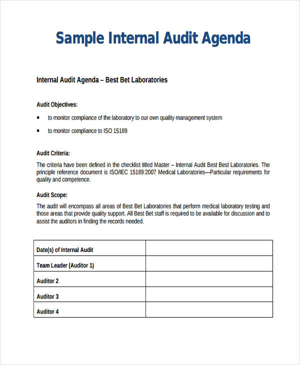 8+ Audit Agenda Examples, Samples