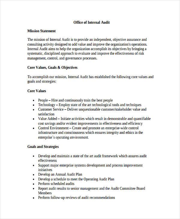 internal audit mission statement