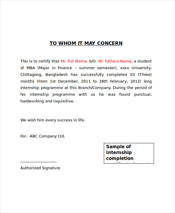 Attractive Internship Completion Certificate  Completion Certificate Format