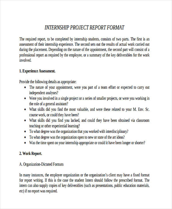 Internship Project Format  Work Summary Examples