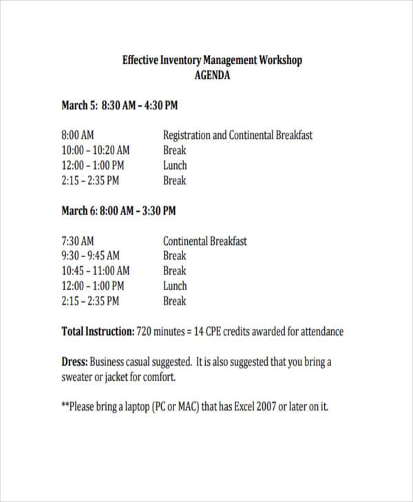 inventory management agenda