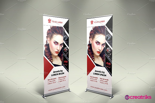 jewellery roll up advertising banner