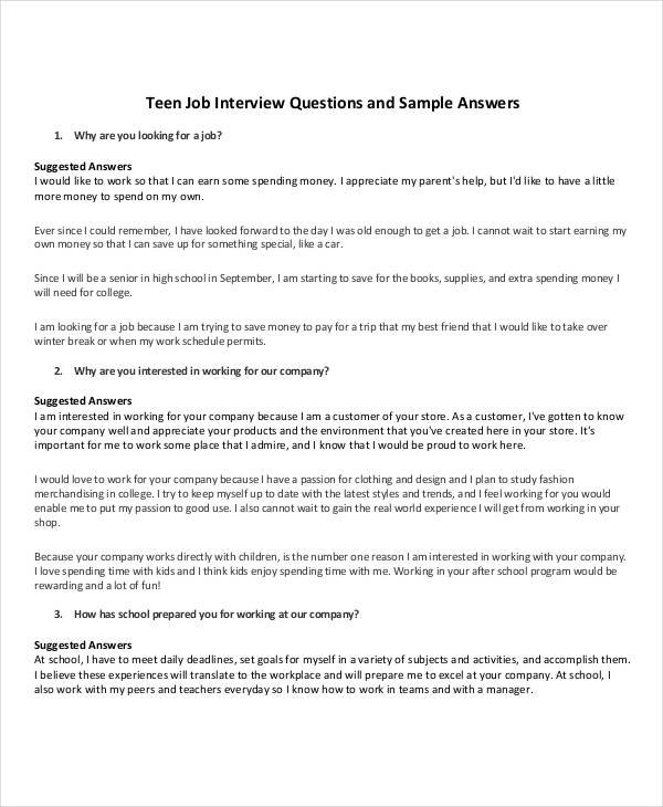 job interview questionnaire example