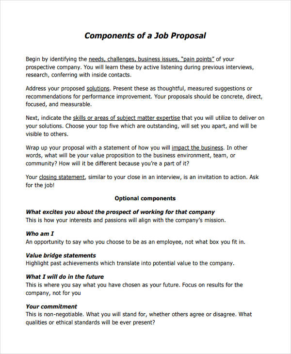 Job Proposal Sample