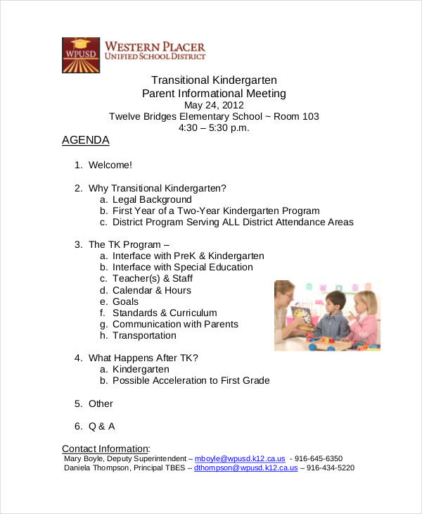 kindergarten parents meeting agenda