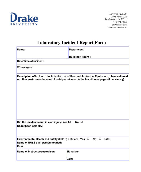 Examples Of Report Forms