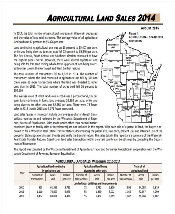 land sales summary report