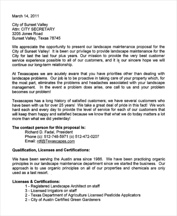 Landscaping Proposal Letter Example