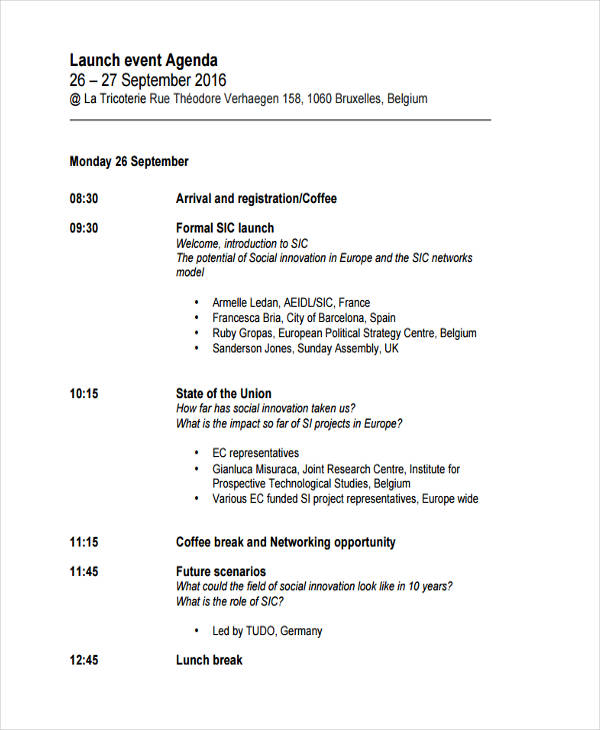 Launch Event Agenda  Formal Agenda Format