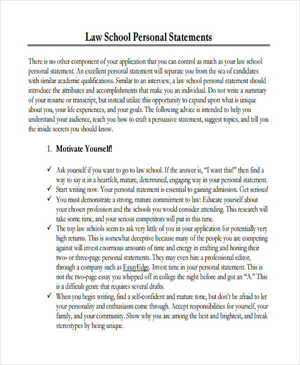 29+ Examples Of Personal Statements