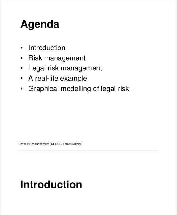 legal risk management example