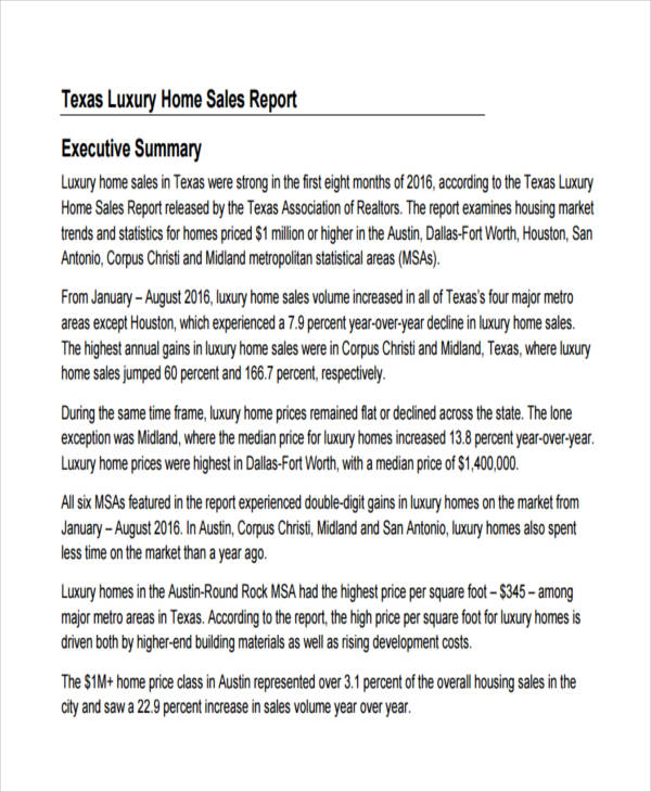 luxury home sales report