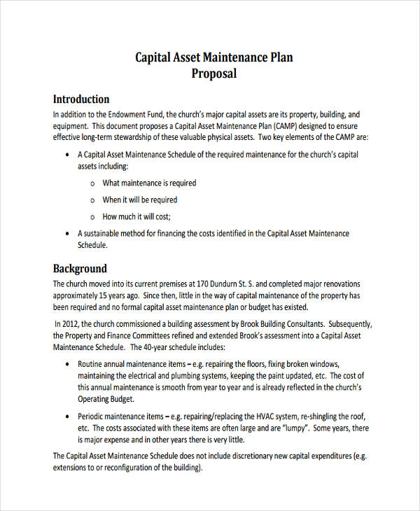 maintenance plan proposal