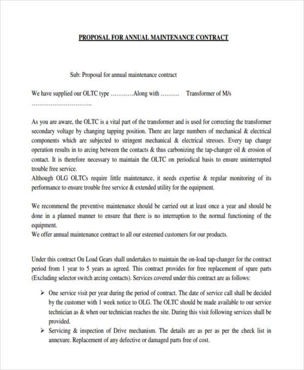 maintenance proposal