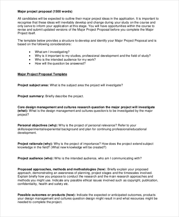 Project Proposal Samples Major Project Sample  Examples Of