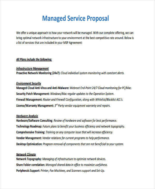 11 service proposal examples samples managed service wajeb Gallery
