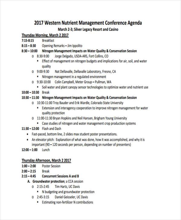 management conference agenda