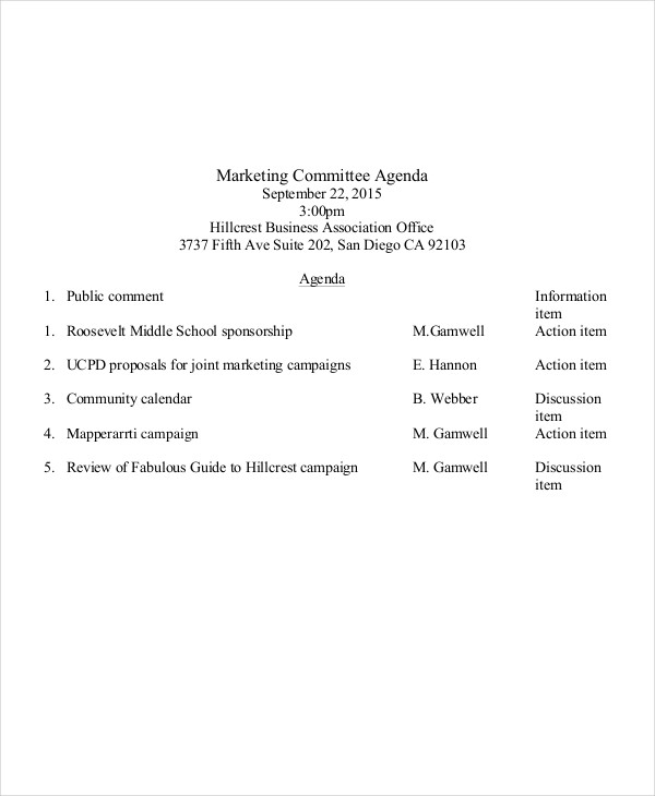 marketing committee agenda