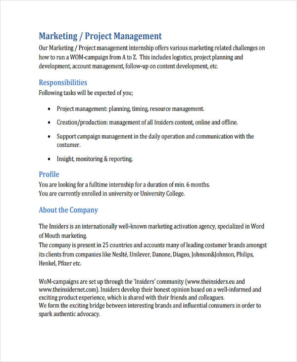 marketing management sample