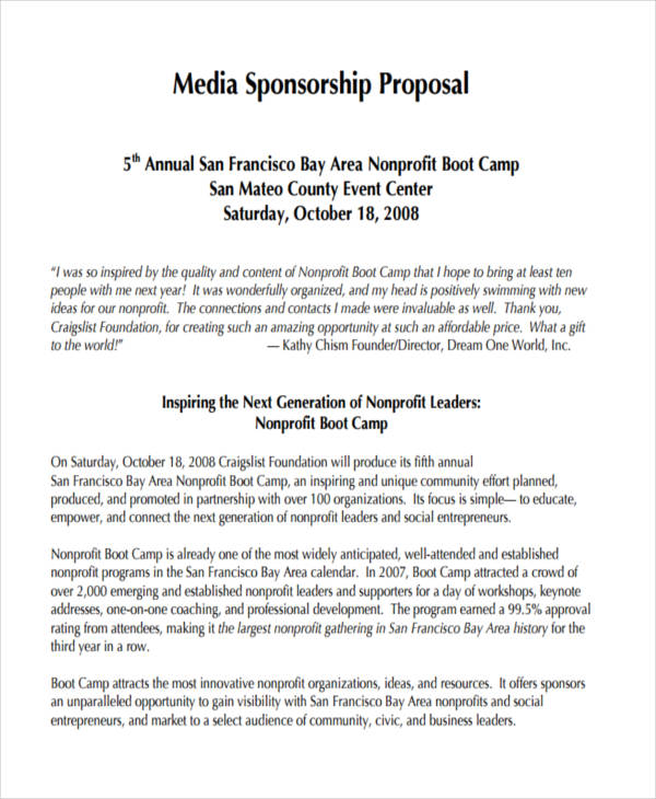 Media Sponsorship Proposal Craigslistfoundation.org. Details. File Format  How To Write A Sponsorship Proposal Sample