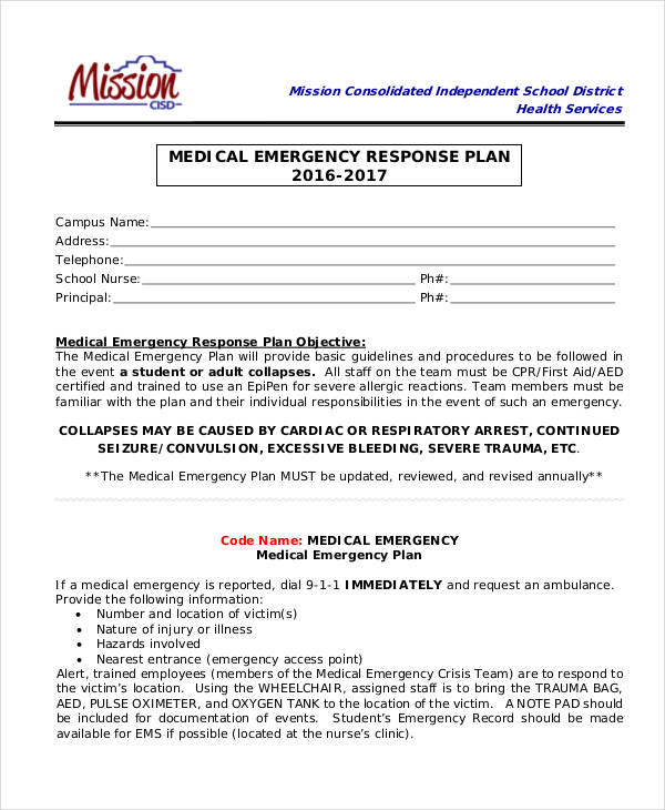27 emergency plan examples medical emergency response plan wajeb Images