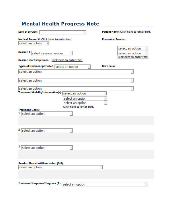 mental health progress sample
