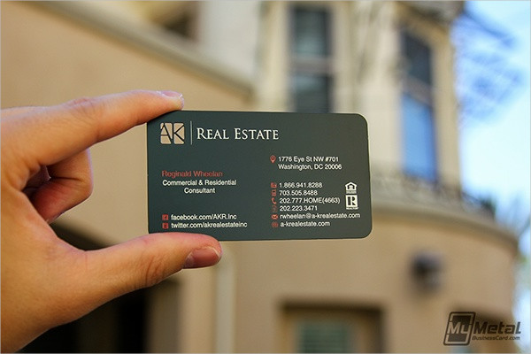 metal real estate business card
