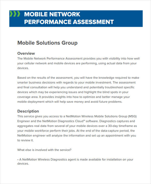 mobile network performance sample