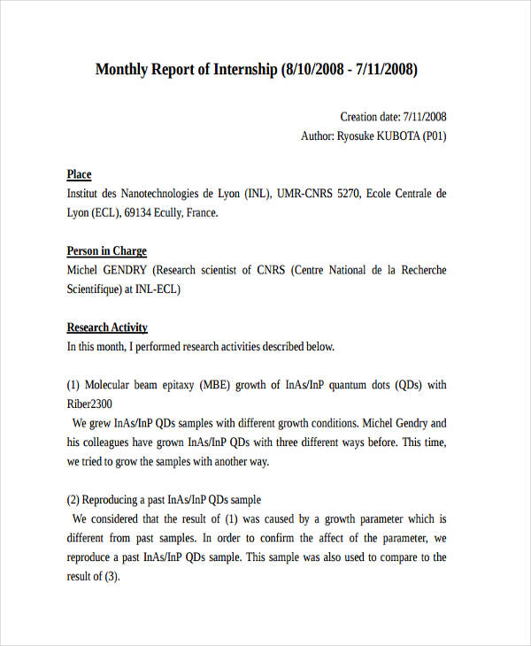 Internship Report Examples Samples