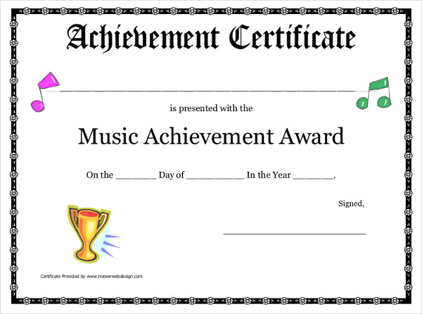 Music Achievement Certificate  Certificate Of Achievement Sample