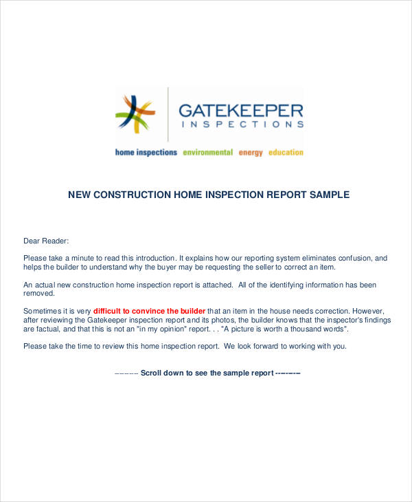 new construction inspection report