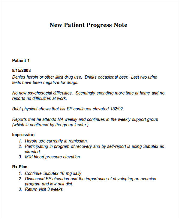 Patient Note New Patient Progress Example  Progress Note