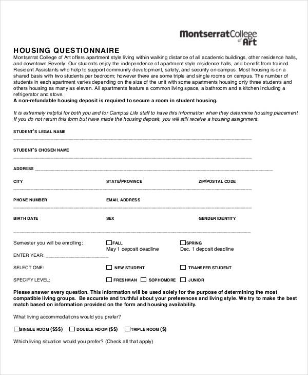 new student housing questionnaire