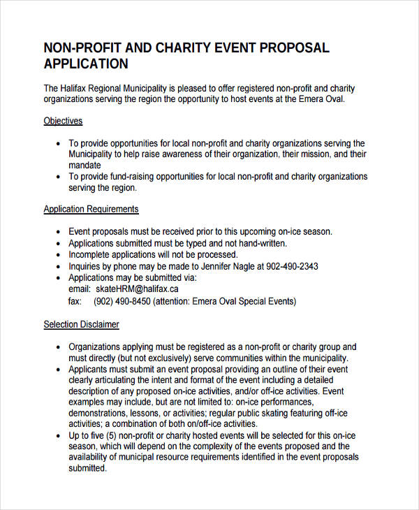 Non Profit Event Proposal  Charity Proposal