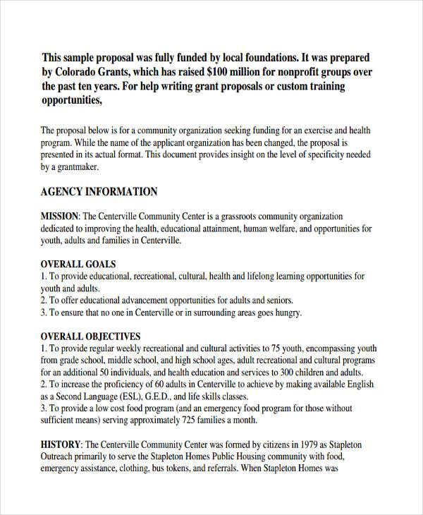 7 non profit proposal examples samples doc pdf for Writing a proposal for funding template