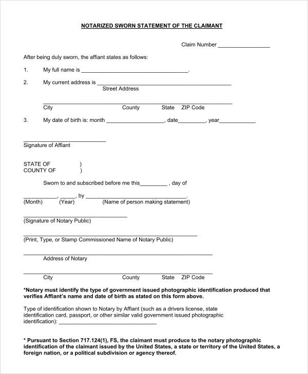 notarized sworn statement