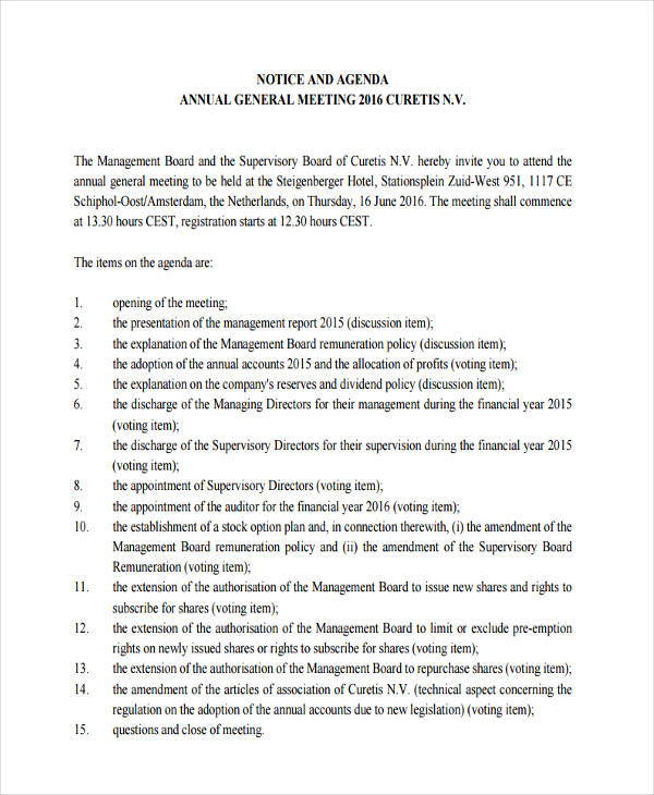 notice agenda form