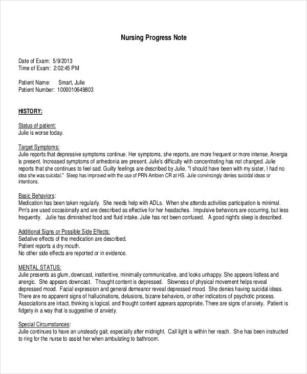 Progress Note Examples  Samples  Pdf Doc