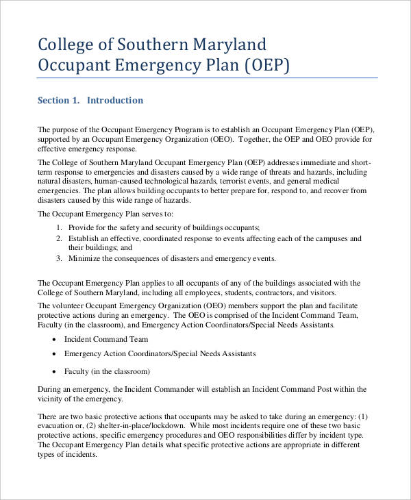 occupant emergency plan in pdf