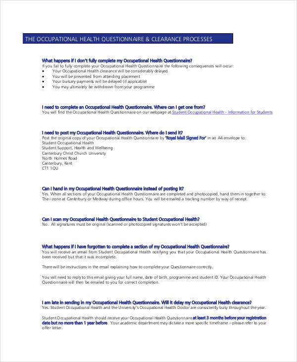occupational health assessment questionnaire