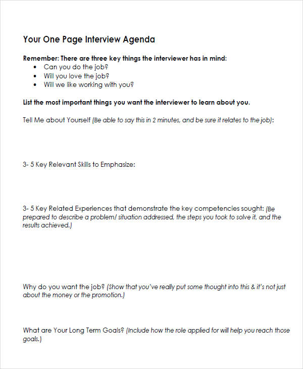 one page interview template