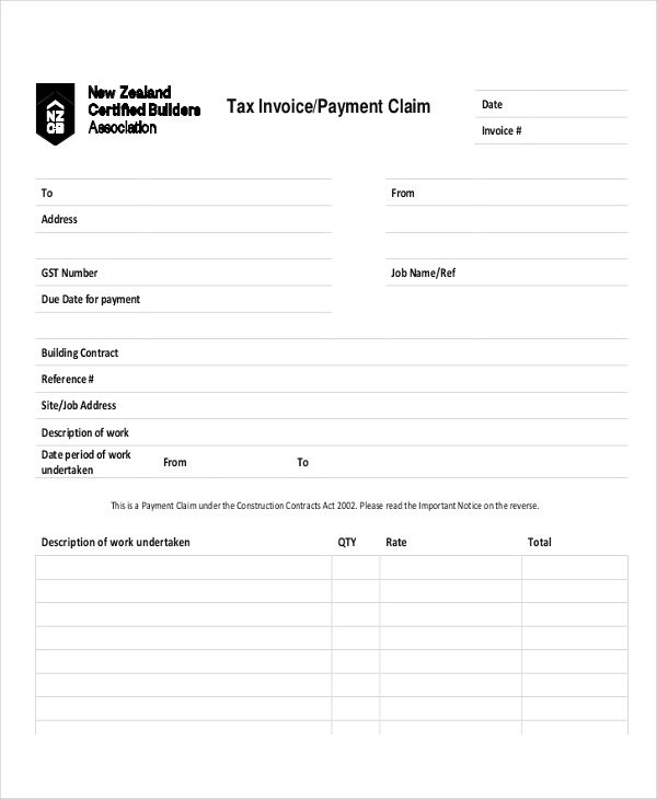Amazing Tax Invoice/Payment Claim And Invoice For Payment