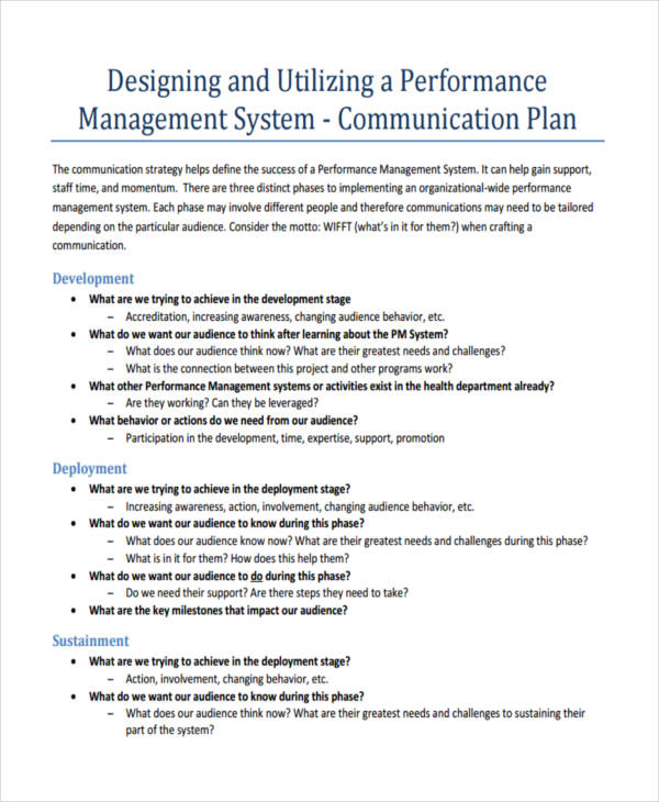 performance management communication plan