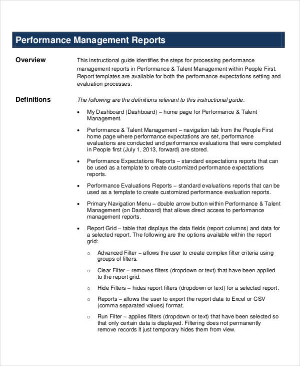 Performance Report Examples Samples